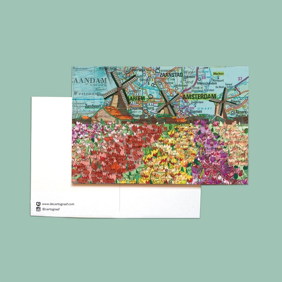 World map postcards  - Zaanstreek