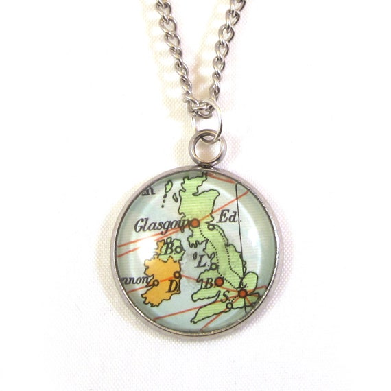 Map necklaces - Northern Europe variations 20 mm