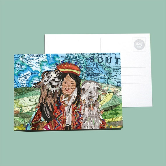 World map postcards - Latin America / Andes