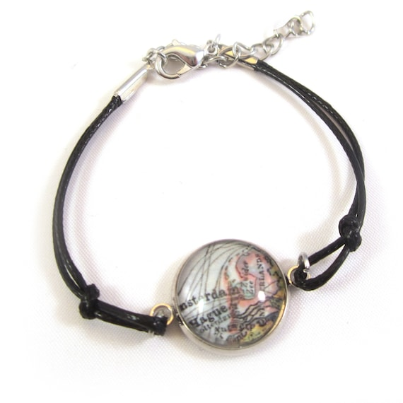 Personalized World map bracelet - Holland variations