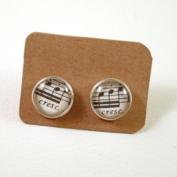 Personaized sheet music ear studs