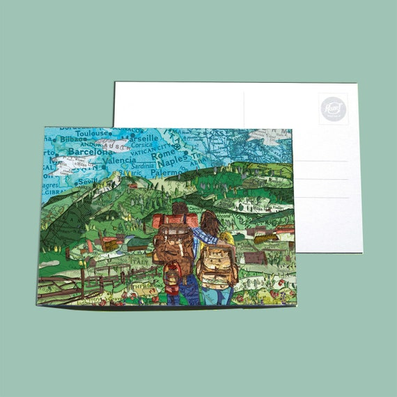 World map postcard - Hiking series