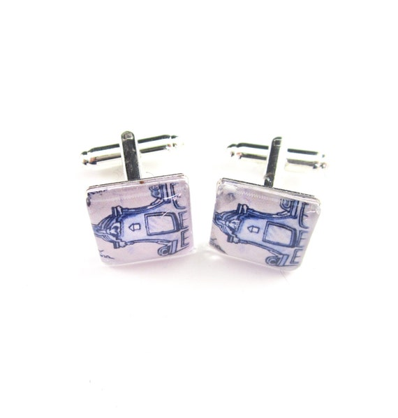 Delft blue cufflinks