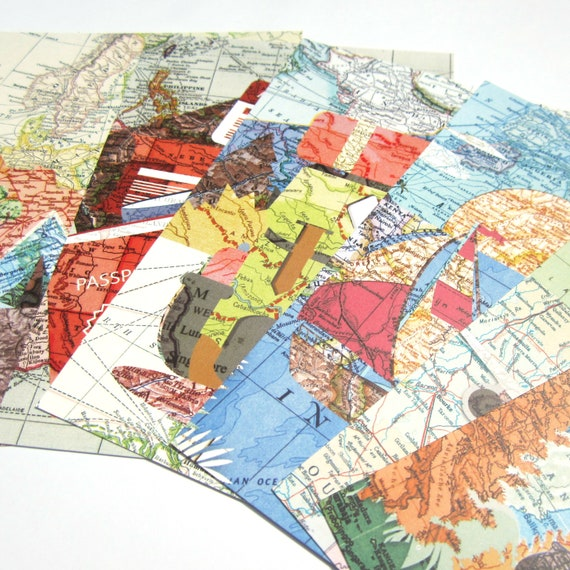 World map collage post card
