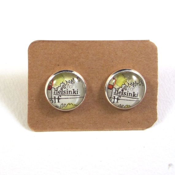 Personalized World map ear studs - North Europe variations