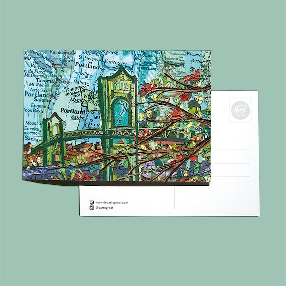 World map postcards - American landmarks