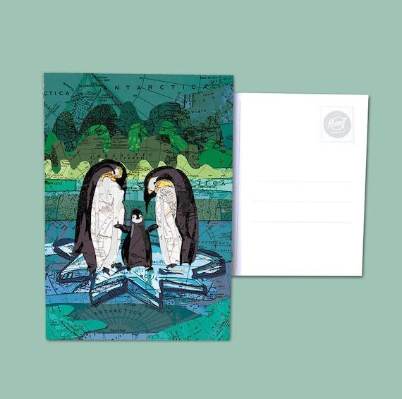 World map postcards - Animals series