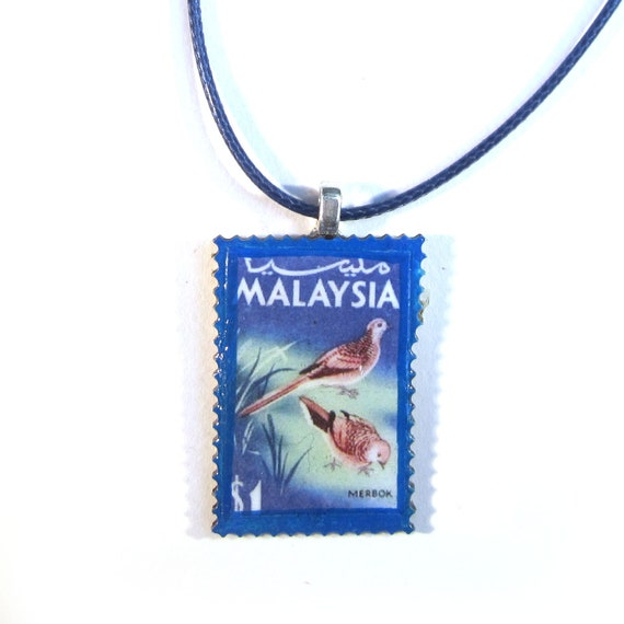 Postage stamp necklace - Malaysia variations