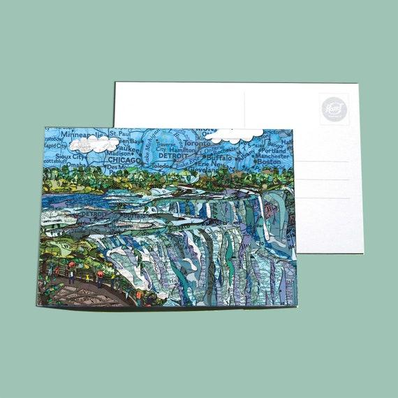 World map postcards - America