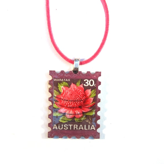 Postage stamp necklace - Australia and New Zealand