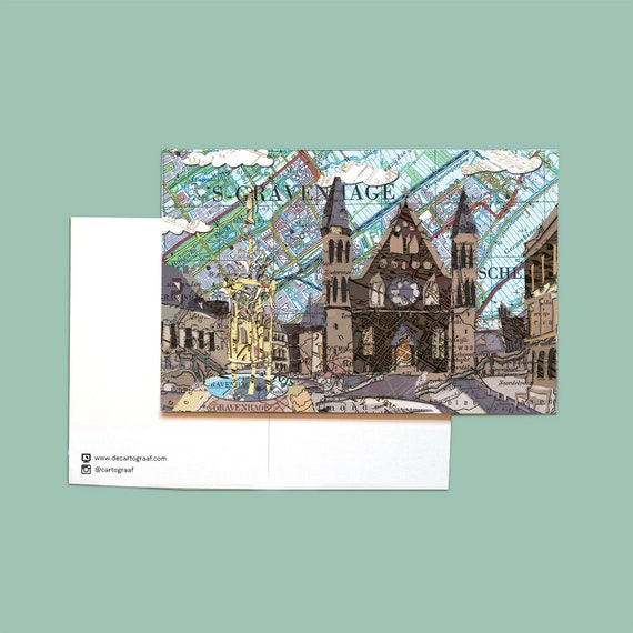 World map postcards - The Hague series