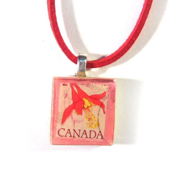 Scrabble tile postage stamp necklace - america variations