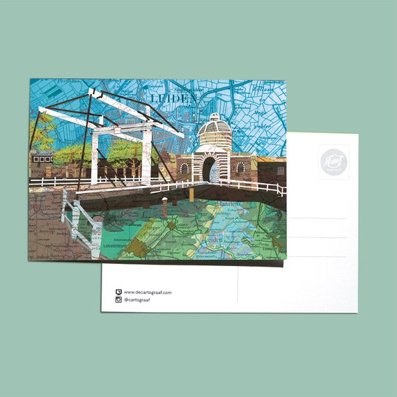 World map postcards - Leiden set