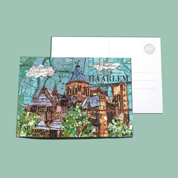 World map postcards - Dutch cities