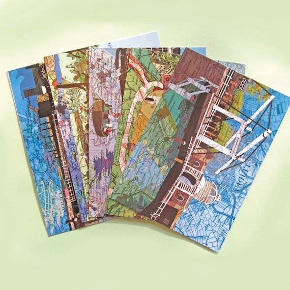 World map postcards - Leiden set