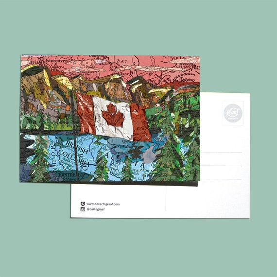 World map postcards - Canada