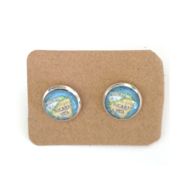 World map ear studs - Central America variations