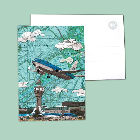 World map postcards - Amsterdam and Zaandam