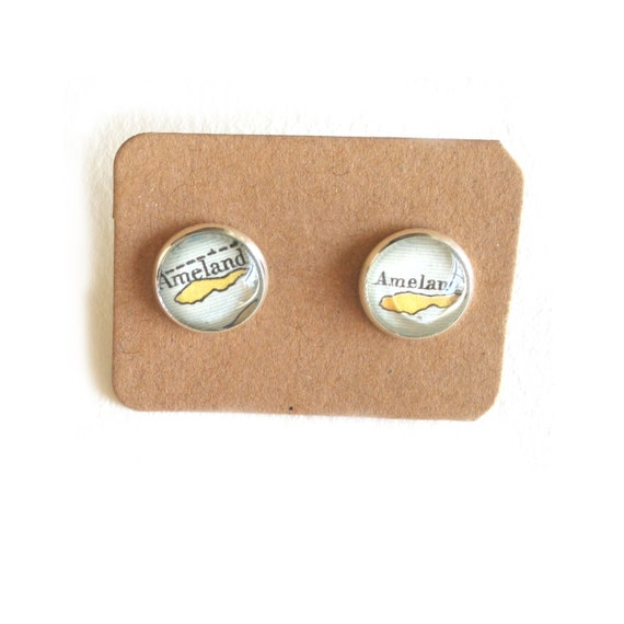 Personallized World map ear studs - Netherlands variations