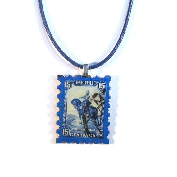 Postage stamp necklace - America variations