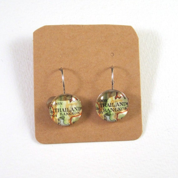 Personalized Map earrings - Asia variations