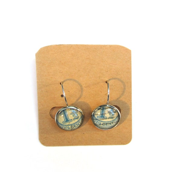 personalized Postage stamp earrings