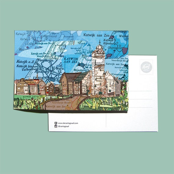 World map postcards - Zuid Holland and sea