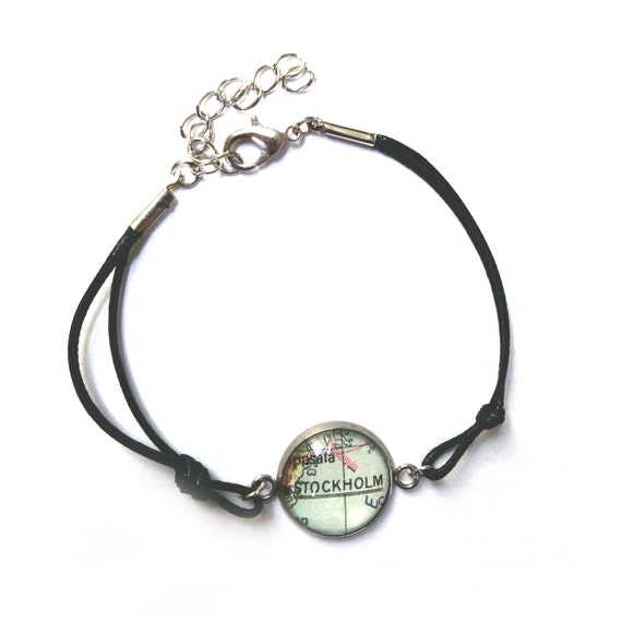 Personalized World map bracelet -  North Europe variations