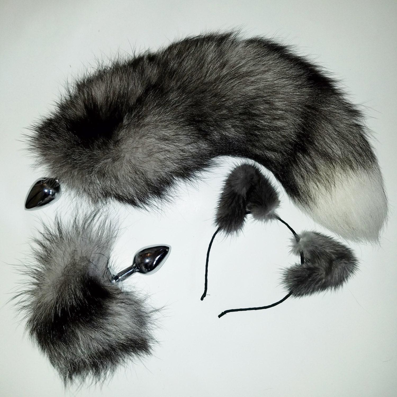 18'' queue de renard indigo naturel avec cosplay assorti gris ensemble! bandeau gris assorti et bunny queue butt plug! Petite ou moyenne en acier inoxydable Butt plug f0b576