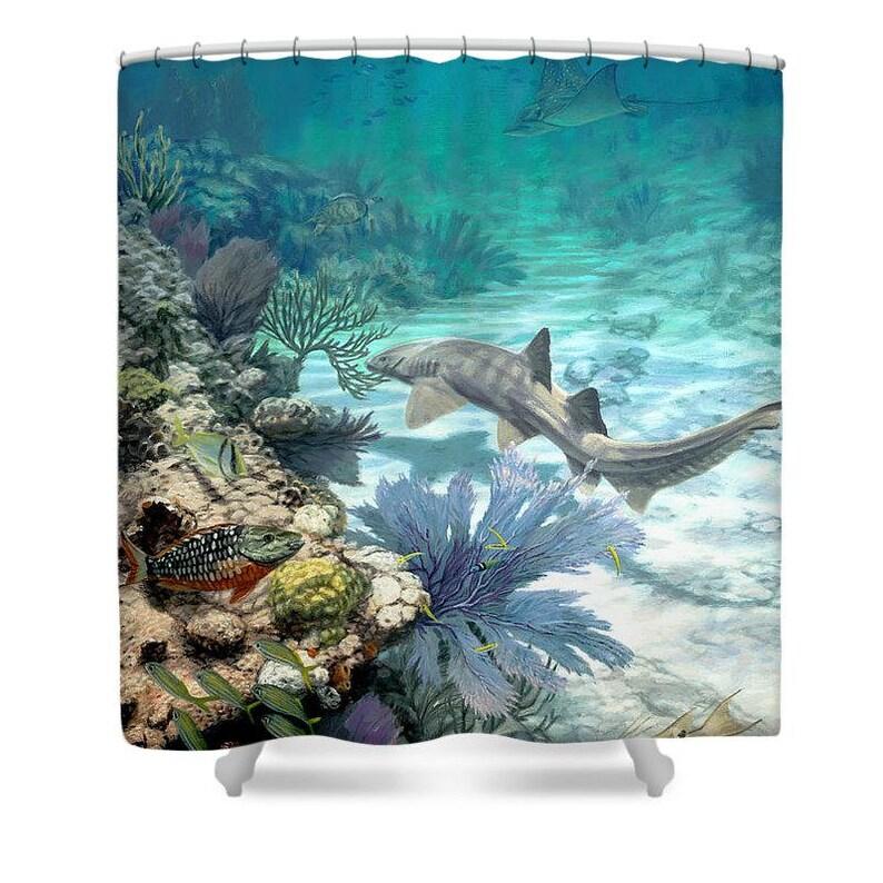Neue Riff Dusche Vorhang Bad Vorhang Bad Dekor Marine Life Dekor Ocean Art  Dusche Vorhang Strand Thema Dekor von Don Ray