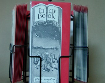 MYSTERY greeting card bookmark