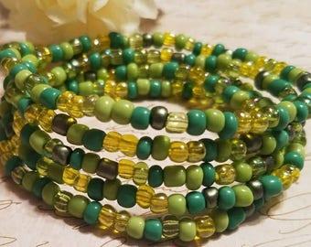 Stretch Wrap Bracelet, Green Wrap Bracelet, Shades of Green Beaded Bracelet, Beaded Bracelet