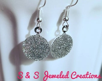 Silver Sparkly Shimmery Glittery Dangle Earrings, Silver Earrings, Glitter Earrings, Sparkly Earrings