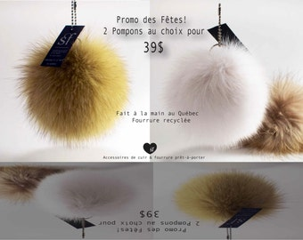 Holiday sale! 2 PomPoms in fur choice / Christmas deal! Recycled fur PomPoms
