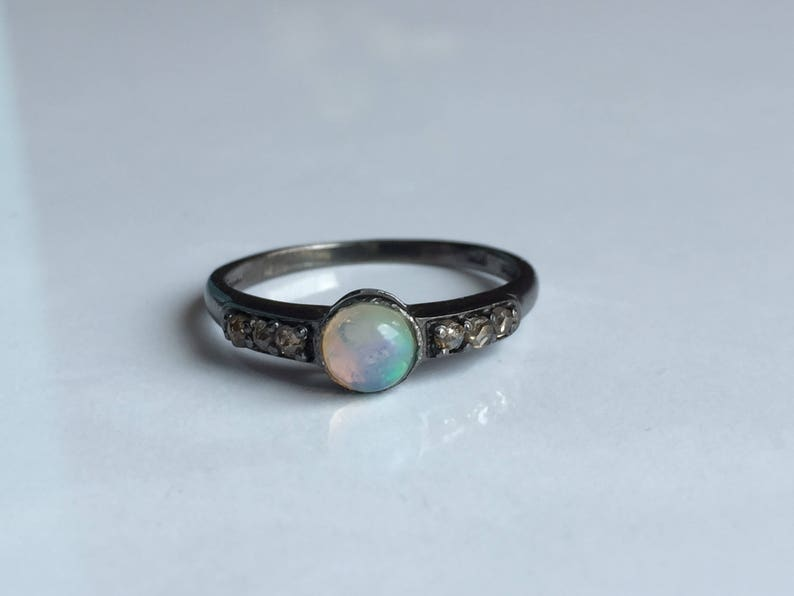 AAA quality natural fire opal ring with diamonds in 925 sterling silver