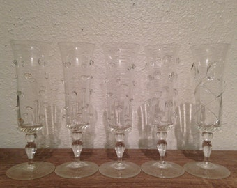 Unique Handmade Crystal Champagne Glasses - Set of 5