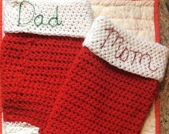 Knitted Mom & Dad Stockings