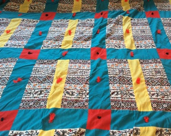 King Quilted Bedspread/ Turquoise/ Red / Yellow