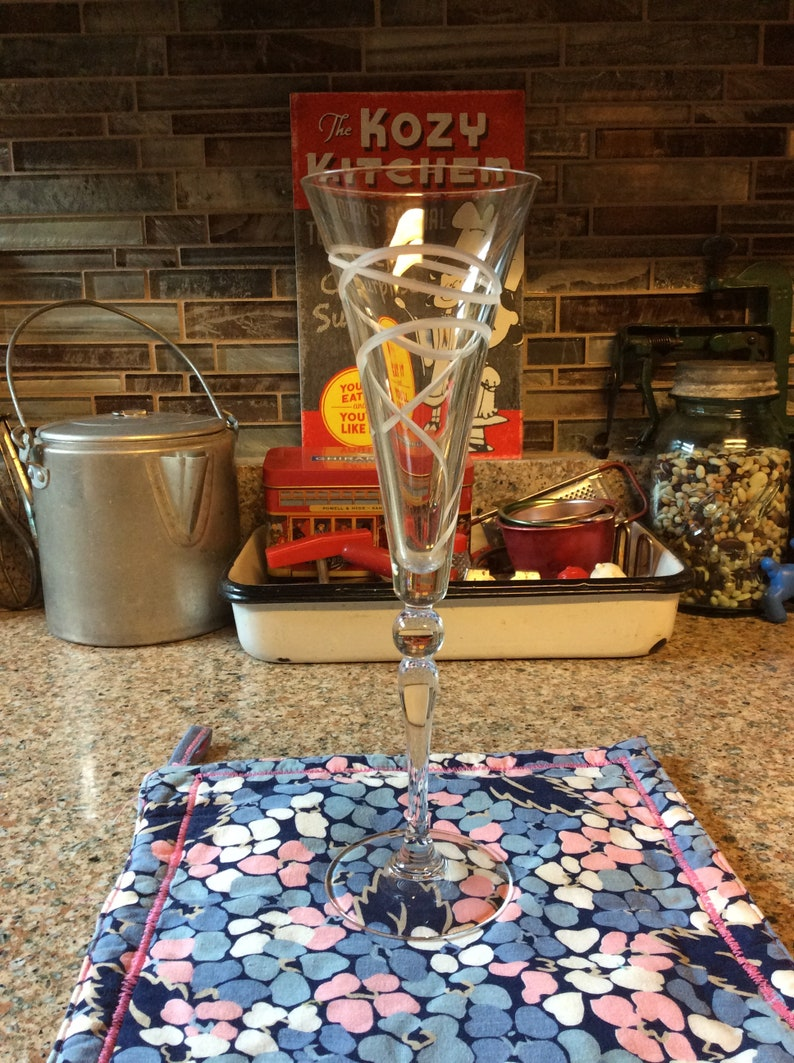 Champagne Glass  Etched