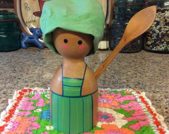 Wooden Egg Cup / with hat & spoon