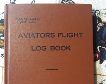 Aviators Flight Log Book / 1945