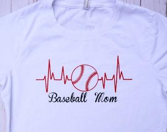Sports Heartbeat T-shirt.  Baseball, Football, Basketball, Tennis, Volleyball, Soccer