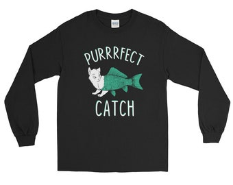 Cat shirt cat shirts funny cat shirt cat sweater cat lady gifts - purrrfect catch - Long Sleeve Shirt