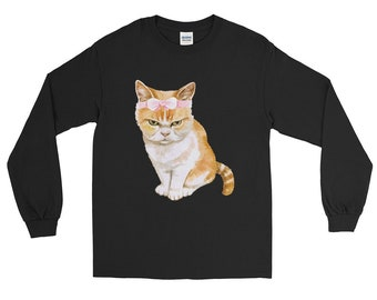 Cat shirt cat shirts funny cat shirt cat sweater cat lady gifts - angry cat Long Sleeve Shirt