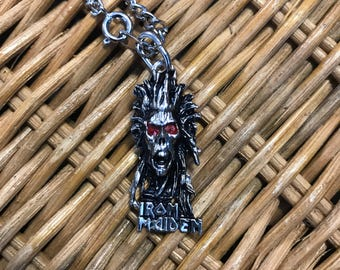 Vintage 1980's Metal Iron Maiden Pendant Necklace.