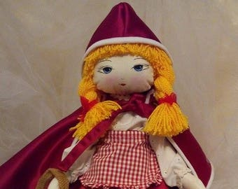 Little Red Riding Hood Doll/Little red riding hood rag doll/hand made doll//textill doll/pretty doll