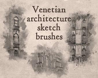Venetian architecture Sketch Brushes--Venetian architectural sketch brushes--Digital brushes/stamps for Photoshop CU