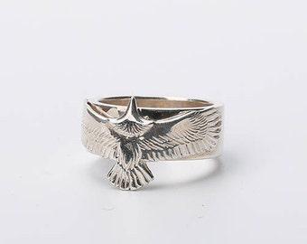 Silver Eagle Ring | Men Eagle Ring | Eagle Silver Ring | Silver Hawk Ring | Eagle Jewelry | Bird Ring | Animal Ring | Realistic Eagle Flying