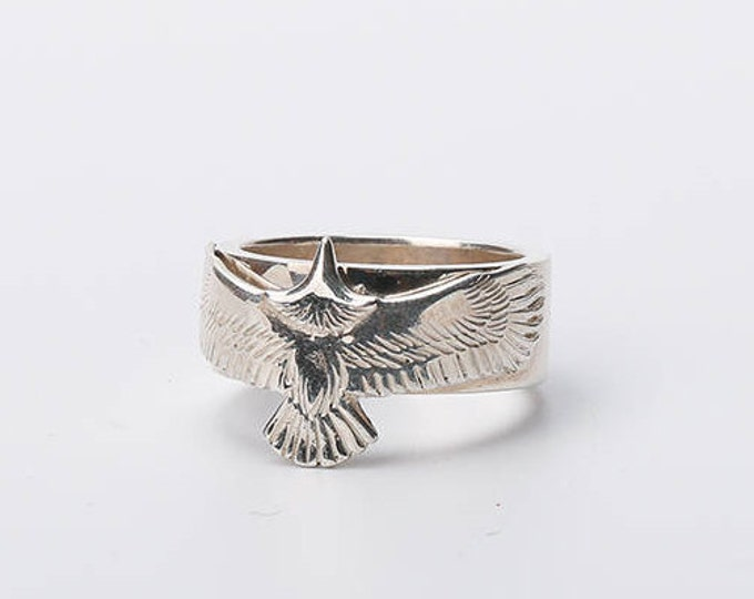 sterling silver eagle ring men, Fathers day gift from daughter, 25th anniversary gifts for husband, military jewelry, statement ring men