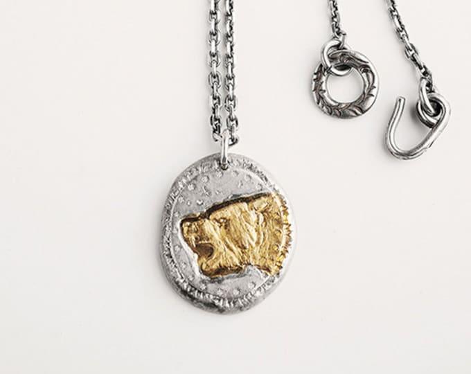 Gold Bear Pendant | Mens Silver Pendant | Bear Head Pendant Rustic | Silver Tree Jewelry |Brown Bear Pendant Mens Statement Pendant Two Tone